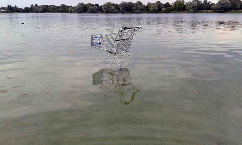 Gewässerter Wagen vor endlichem Ufer Kunst im öffentlichen Raum