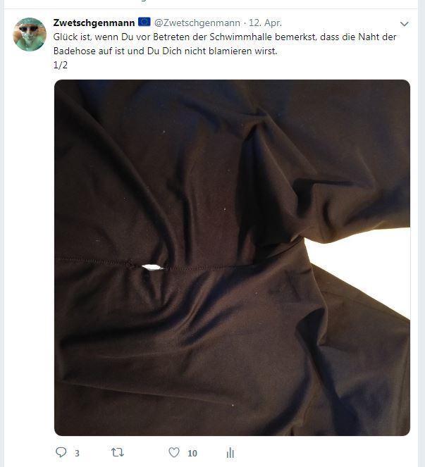 Tweet 1 - Hinweis auf das kleine Loch. zum Glück rechtzeitig entdeckt