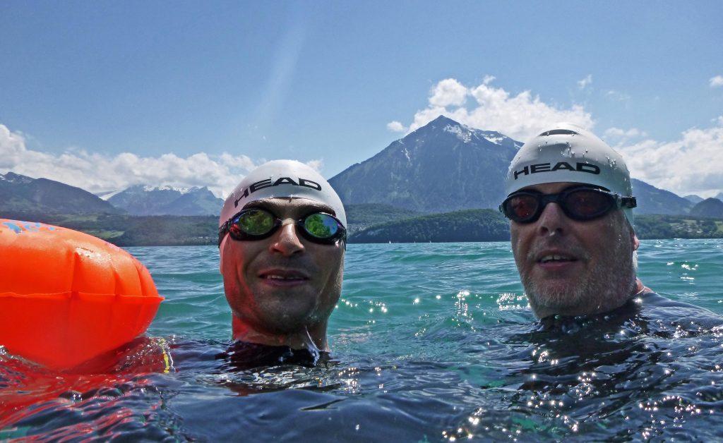 Schwimmen im Thuner See - für uns nur im Neo