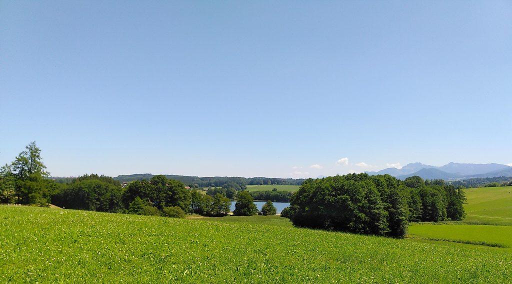Eingebettet in Felder und Weiden. Der Tinninger See